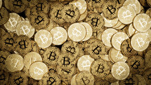Bitcoin Cryptocurrency Represented As Gold Coins. Digital Banking Wallpaper. 3D Render.