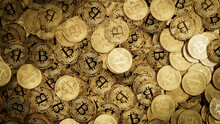 Bitcoin Cryptocurrency Represented As Gold Coins. Future Business Wallpaper. 3D Render.