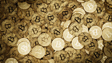 Bitcoin Cryptocurrency Represented As Gold Coins. Digital Business Background. 3D Render.