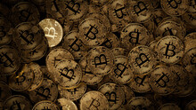 Bitcoin Cryptocurrency Represented As Gold Coins. Decentralized Business Wallpaper. 3D Render.