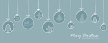 Blue Christmas Card With Tree Balls Decoration