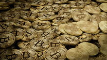 Bitcoin Cryptocurrency Represented As Gold Coins. Blockchain Finance Background. 3D Render.