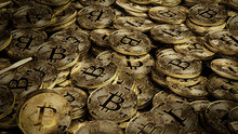 Bitcoin Cryptocurrency Represented As Gold Coins. Digital Money Background. 3D Render.
