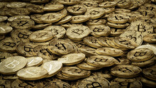 Bitcoin Cryptocurrency Represented As Gold Coins. Decentralized Money Wallpaper. 3D Render.