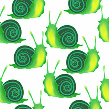 Seamless Vector Pattern With Green Snails