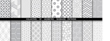 Geometric Set Of Seamless Gray And White Patterns. Simple Vector Graphics.