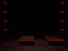 3D Black Scientific Stage With Red Neon Lights