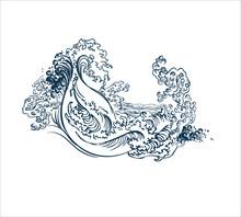 Sea Design Elements Japanese Vector Engraved