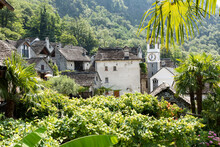 View On The Village Of Avegno In Switzerland From A Terrace Of An Old House. The Church With Its Bell Tower Cannot Be Missed.