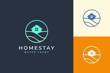 Beach Theme Resort Or Real Estate Logo With Sea Wave And Circle