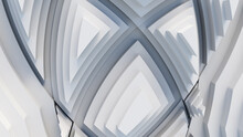 White, Tech Background With A Geometric 3D Structure. Clean, Stepped Design With Extruded Futuristic Forms. 3D Render.