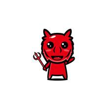 Red Devil Character Cartoon Vector Design