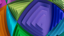 Multicolored, Tech Background With A Geometric 3D Structure. Bright, Stepped Design With Extruded Futuristic Forms. 3D Render.
