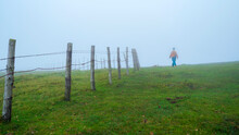 Chica Joven Paseando Entre La Niebla Junto A Una Alambrada