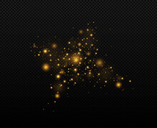 Festive Golden Luminous Background With Colorful Lights Bokeh. Sparkling Magical Dust Particles. The Dust Sparks And Golden Stars Shine With Special Light On A Black Background. Christmas Concept.