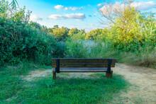 Bench, Overlooking A Pond, Wetland Nature Reserve En Afek