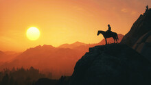 Silhouette Of A Person On A Mountain Top. Sunset. Red Dead Redemption.