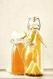 Fototapeta Kawa jest smaczna - Healthy Fermented Kombucha Drinks. Probiotic superfood tea, keto diet drink, tepache, cider, kvass, ginger ale. Negative space
