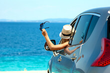 Happy Driver In Car At Sea In Summer Concept Freedom And Happy