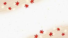 質感のある曲線と紅葉 金箔入り和紙 秋の和風背景素材(ベージュ)
