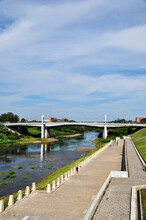 Panorama Of The Dnieper Embankment In Smolensk. River Embankment And Bridge Over The River.