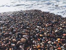 Sea Pebbles Background, Natural Colors