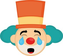 Vector Emoticon Illustration Of The Face Of A Cartoon Clown Wearing A Hat, With A Sad Expression And Tears Falling From His Eyes