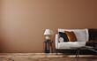 Leinwandbild Motiv Home mockup, brown warm color living room with  sofa and decoration, 3d render