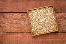 Box Of  Ripe White Sorghum Seeds On Rustic Wood Background With A Copy Space