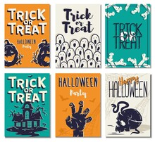 Halloween Background Of Trick Or Treat For Spooky Mystery Holiday. Fear Postcard Set With Bone, Pampkin, Zombie Hand And Skull For Happy Halloween