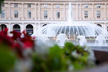 Fountain In The Square De Ferrari In The Center Of Genoa, Italy