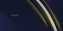 Abstract Wavy Luxury Dark Blue And Gold Background. Abstract Template Diagonal Lines Striped Dark Blue Gradient Background And Texture With Golden Wave Line And Space For Your Text