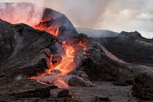 Active Volcano Under Cloudy Sky