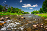 Fototapeta Bambus - Scenery of the Vistula river in Ustron on the hills of the Silesian Beskids. Poland