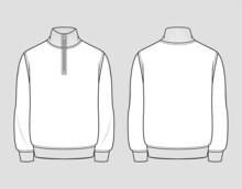 Quarter Zip Sweatshirt. Men's Casual Clothing. Vector Technical Sketch. Mockup Template.