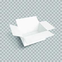 Vector White 3D Box Isolated On Light Transparent Background, Realistic 3D Object, Container Box, Rectangular Shape.
