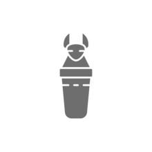 Ancient Egyptian Sarcophagus, Canopic Jars Grey Icon.