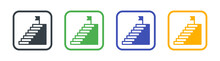 Stairs, Stairway, Staircase Icon Set.