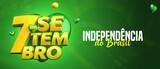 7 DE SETEMBRO, INDEPENDÊNCIA DO BRASIL, SELO 3D EM FUNDO COM BANDEIRA DO BRASIL TEXTO  COM CORAÇÃO