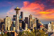 Seattle Cityscape And Space Needle