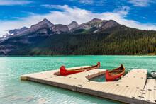 Canoes On Lake Louise, Banff