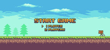 Pixel Art 8bit Game Home Screen. Landscape Game Background With Grass, Trees And Clouds