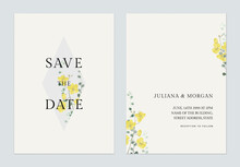 Minimalist Floral Wedding Invitation Card Template, Golden Shower Flowers  And Leaves On Grey