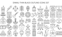 Diwali Thin Black Outline Icon Set. Included Icons As Deepavali Celebrate, Light Festival, Candle, Lamp, Hindu Celebration More. Used For Modern Concepts, Web, UI Or UX Kit And Applications, EPS 10.