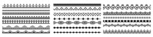 Large Collection Of Seamlessly Tiling Border. Decorative Seamless Borders Vintage Design Elements Set. Element, Border, Frame, Brush, Filigree, Invitation, Ornament, Ornamental, Ornate, Classic, Art.