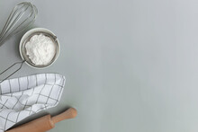 Baking Concept Flat Lay. Ingredients, Kitchen Utensils, Grey Concrete Background