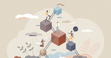 Leveling Up And Career Development With Progress Stairs Tiny Person Concept. Skills And Professional Improvement As Upward Raising Steps Vector Illustration. Climb With Aspiration To Target Or Goal.
