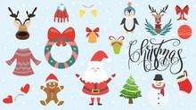 Collection Christmas Elements In Christmas Holiday ,for Content Online Or Banner For Your Website And Template, Simple Cartoon Flat Style. Illustration Vector EPS 10