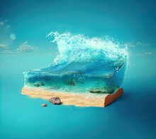 3d Illustration With Cut Of The Ground And The Beautiful Sea Underwater.