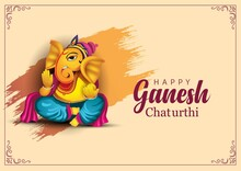 Lord Ganpati On Ganesh Chaturthi Background. Vector IllustrationLord Ganpati On Ganesh Chaturthi Background. Vector Illustration White Background